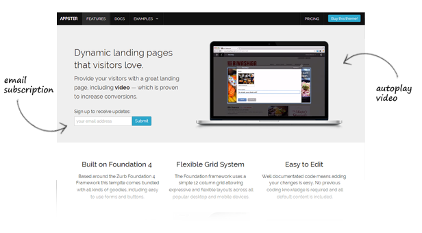 Appster Video App & Software Landing Page